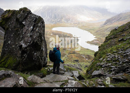 A senior male hiker descending the Devil's Kitchen path into Cwm Idwal with low cloud on mountains of Snowdonia National Park. Ogwen Gwyned Wales UK - Stock Image
