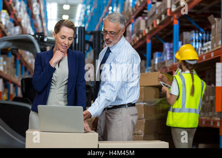 Portrait of warehouse manager and client interacting over laptop - Stock Image