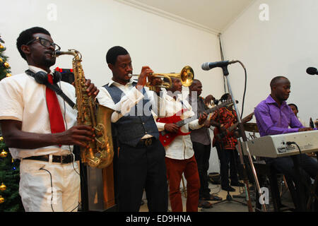 Instrumentalist playing during a church service in Lagos Nigeria - Stock Image