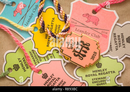 A selection of colourful lapel badges for the Stewards' Enclosure and Leander Club at Henley Royal Regatta - Stock Image