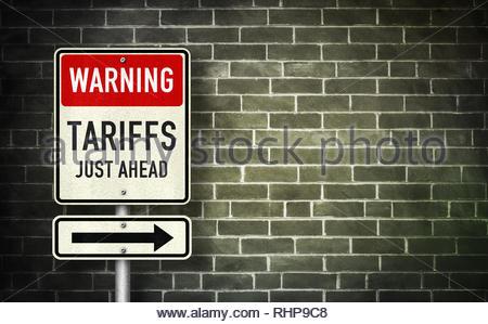 Warning - Tariffs just ahead - Stock Image