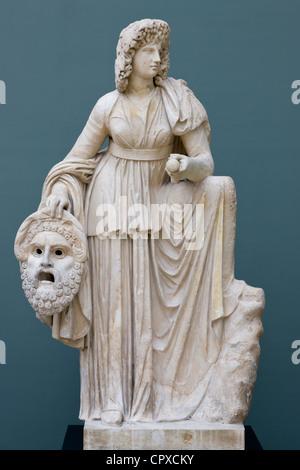 Marble statue of Melpomene the Muse of tragedy at Ny Carlsberg Glyptotek - Stock Image
