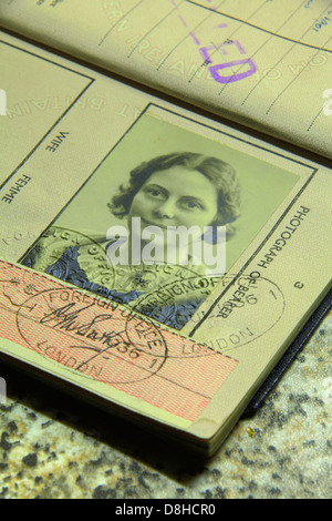 Old lady's British subject passport photograph - Stock Image