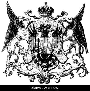 Coat of arms of Austria, ,  (cultural history book, 1875) - Stock Image