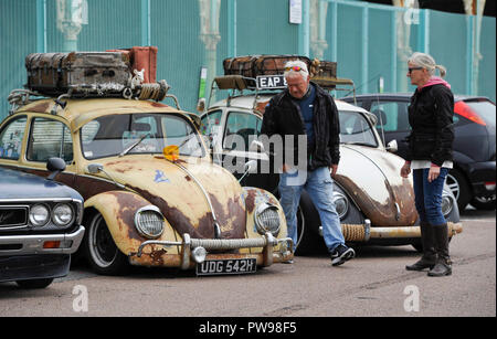 Brighton UK 14th October 2018 - Customised Volkswagen Beetle cars at this years Brightona Motorcycle event along Madeira Drive on Brighton seafront raising money for the Sussex Heart Charity Credit: Simon Dack/Alamy Live News - Stock Image