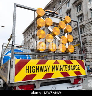 The rear of a highway maintance lorry parked outside the Royal Liver Building Liverpool May 2018 - Stock Image