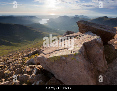 View of Ennerdale water from the summit of Pillar in the Lake District - UK. - Stock Image