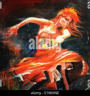 Street art of Cyndi Lauper from Girls Just Want to Have Fun album cover - Stock Image