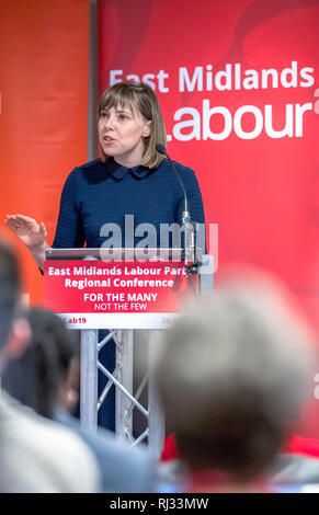Emma Foody, Regional Director speaking at the East Midlands Labour Party 2019 conference in Nottingham, UK. - Stock Image