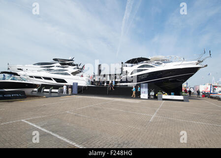 Southampton, UK. 11th September 2015. Southampton Boat Show 2015. The Sunseeker stand featured tiers of boats. Credit: - Stock Image