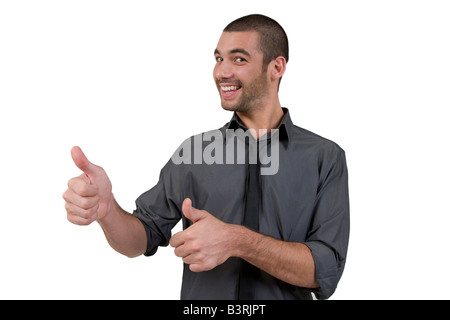 male wishing goodluck on white background - Stock Image
