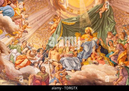 COMO, ITALY - MAY 8, 2015: The fresco of Glory of Christ the King in church Santuario del Santissimo Crocifisso by Gersam Turri (1927-1929). - Stock Image