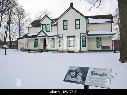 Miller's House, historic home at Morningstar Mill in St. Catharines, Ontario, in Winter. - Stock Image