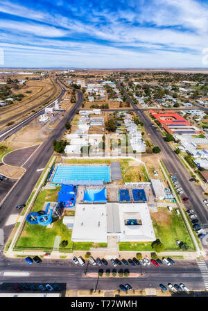 Popular holiday destination Moree town aquatic centre with hot artesian water from artesian basin in sports complex for relaxation and exercise for en - Stock Image