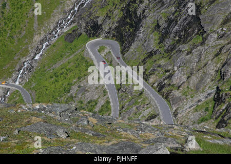 View of the road - famous Trollstigen National Tourist Route. - Stock Image