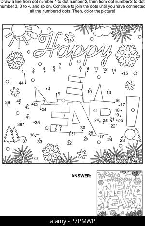 Winter holidays themed connect the dots picture puzzle and coloring page - Happy New Year! greeting text. Answer included. - Stock Image