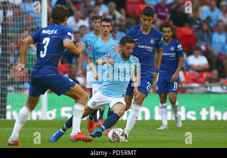 Bernardo Silva of Manchester City in action during the FA Community Shield match between Chelsea and Manchester City at Wembley Stadium in London. 05 Aug 2018 - Stock Image