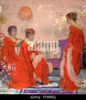 Harmony in Flesh Colour and Red, James Abbott McNeill Whistler, circa 1869, Museum of Fine Arts, Boston, Mass, USA, North America - Stock Image