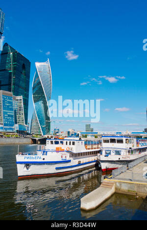 Boat pier, across from MIBC, Moscow International Business Center, Moscow City, Moscow, Russia - Stock Image