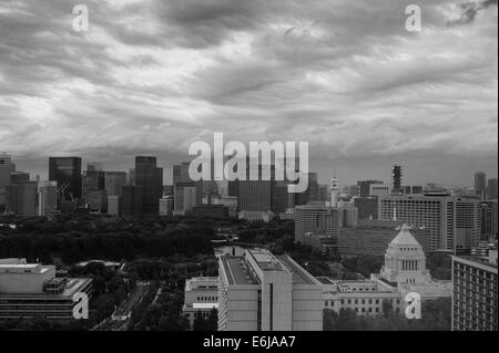 The sky in the calm following a Typhoon in Akasaka, Chiyoda-ku, Tokyo, Japan with the Japanese Diet (Parliament - Stock Image