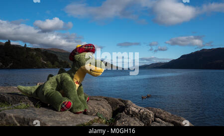 Soft Toy Nessie in love at Loch Ness - Stock Image