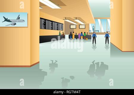 A vector illustration of Inside Airport Scene - Stock Image