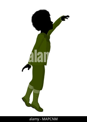 African american victorian boy silhouette on a white background - Stock Image