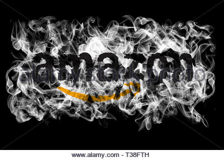 Smoking flag of Amazon - Stock Image