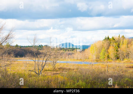 A late evening view in early spring of the Sacandaga River Valley in Speculator, NY USA in the Adirondack Park. - Stock Image