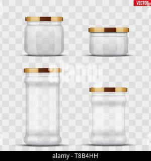 Transparent Glass Jars for canning and preserving. - Stock Image