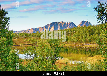 Little lake on island Hinnoya. Troms, northern Norway, Europe - Stock Image