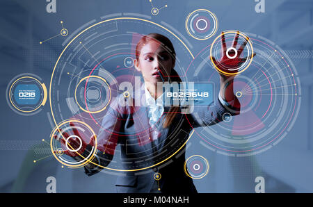 Young woman and head up display. HUD. GUI. Internet of Things(IoT). - Stock Image