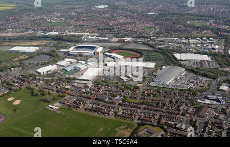 aerial view of the Robin Park area of Wigan including the DW Stadium, Asda Superstore, Arena and the Robin Park Retail Park, Wigan, Greater Manchester - Stock Image