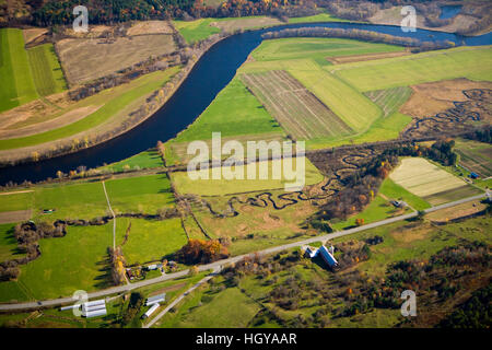 Halls Brook, The Connecticut River and US Route 5 in South Newbury, Vermont.  Aerial. - Stock Image