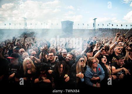 Copenhagen, Denmark. 21st June, 2019. Copenhagen, Denmark - June 21st, 2019. Heavy metal fans attend a live concert with the the American heavy metal band Lamb of God during the Danish heavy metal festival Copenhell 2019 in Copenhagen. (Photo Credit: Gonzales Photo/Alamy Live News - Stock Image