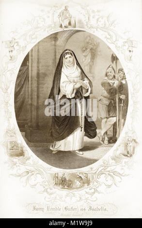 Engraving of the Shakespearean character Isabella, acted by an American, Fanny Kemble (Butler). From the Illustrated - Stock Image