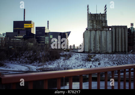 The Guthrie Theater and the Mill City Museum taken side by side. - Stock Image