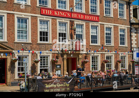 Ornate buildings line the market square in the centre of the North Yorkshire market town of Richmond. - Stock Image