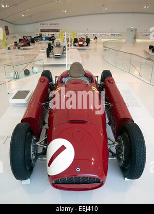 The ex-Juan Manuel Fangio World Championship winning 1956 Lancia Ferrari D50 in the Museo Casa Enzo Ferrari in Modena, - Stock Image