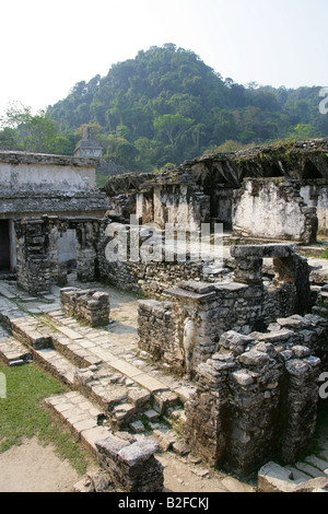 The Palace with the Temple of the Cross in the Background, Palenque Archeological Site, Chiapas State, Mexico - Stock Image
