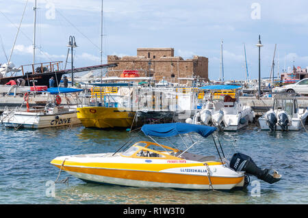 Harbour view showing medieval castle of Phasos, Paphos (Pafos), Pafos District, Republic of Cyprus - Stock Image