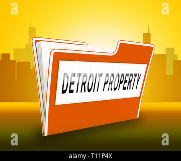 Detroit Property Folder Denotes Real Estate Selling Or Buying In Michigan. Housing Development And Realty Rental - 3d Illustration - Stock Image