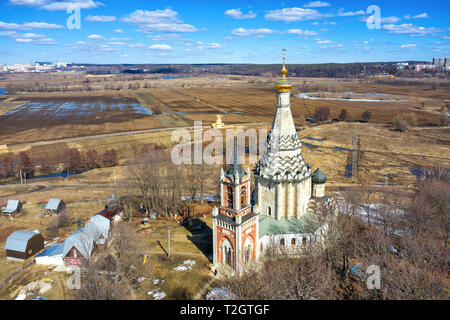 Aerial view of Transfiguration Church of the XVI century in Ostrov village, Moscow oblast, Russia - Stock Image