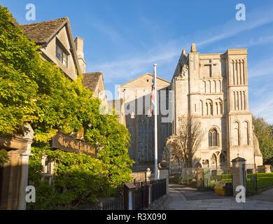 The Old Bell hotel and Malmesbury abbey church, Malmesbury, Wiltshire, England, UK - Stock Image