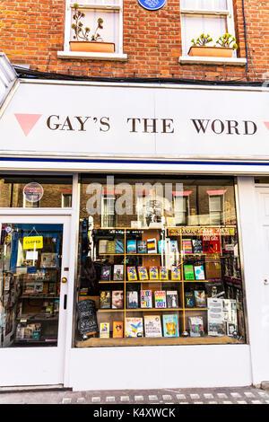 Gay Book shop, Gay Book shop London UK, Gay's the word book shop, Gay Book shops, lgbt, gay and lesbian bookshop in London, books shop, UK, England - Stock Image