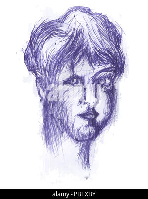 Girl head.  Blue pencil sketch head of girl. illustration of young female. - Stock Image