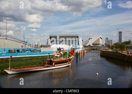 Royal Barge on River Lea at Olympic Park, London 2012 Olympic Games site, Stratford London E20 UK, - Stock Image
