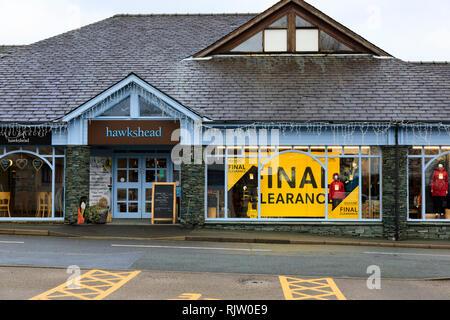 """Hawkshead"" shop, Hawkshead, Lake District, Cumbria, England - Stock Image"