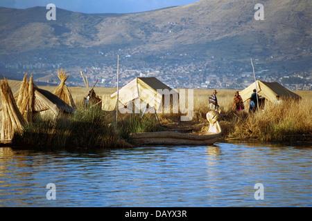 Uros Floating Islands, Lake Titicaca, Peru - Stock Image