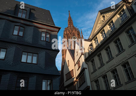 Architectural redevelopment work on DomRomer quarter, a remake of the Altstadt (old town) part of Frankfurt am Main near Cathedral, Hesse, Germany. - Stock Image
